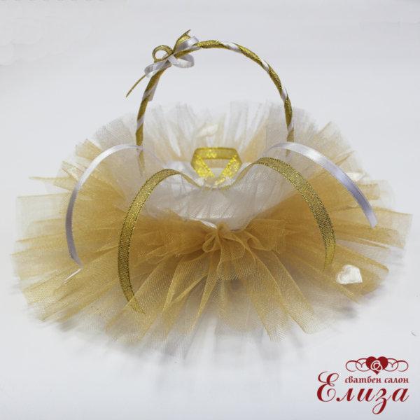 Сватбена кошничка за халки в бяло и златно